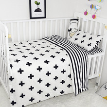 Baby Bedding Set Breathable Cotton Crib Set Print Black White Classic Pattern Baby Quilt Cover Bed Sheet Pillowcase Baby Bedding(China)