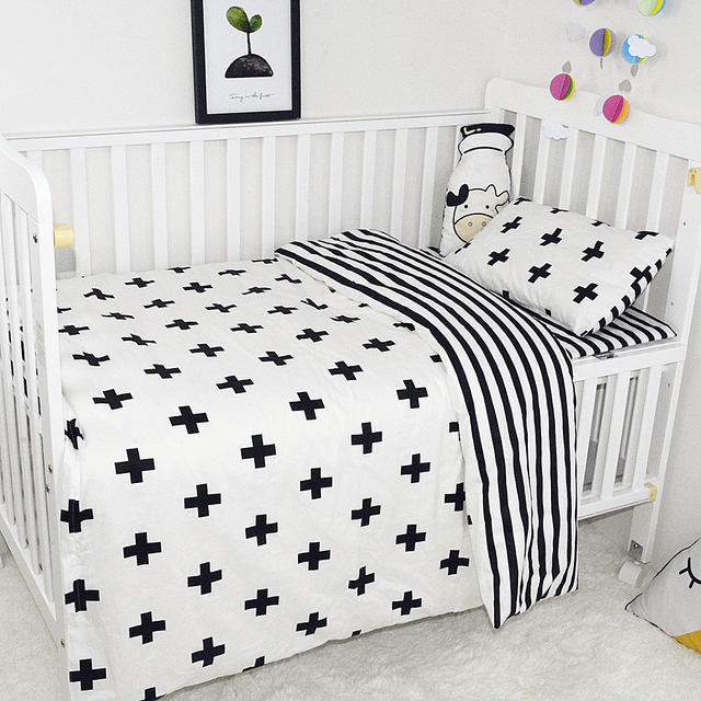 Baby Bedding Set Breathable Cotton Crib Set Print Black