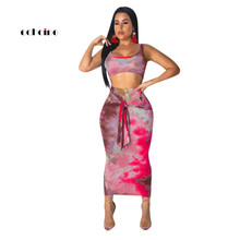 Echoine Party 2 Piece Set Women O-Neck Tie-Dye Print Sexy Crop Tops Sleeveless Fashion Suit Sash Lace Up Skirts Mid-Calf Outfits