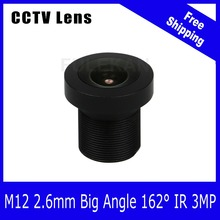 3Megapixel Fixed 1/2.7 inch 160 Wide angle Lens 2.6mm For 720P/1080P/3MP IP camera or AHD/CVI/TVI HD CCTV Camera Free Shipping