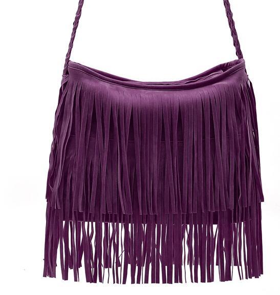 High qualtiy Vintage Faux Suede Fringe WomenTassle Shoulder bag Lady Handbag Woman Crossbody Bag