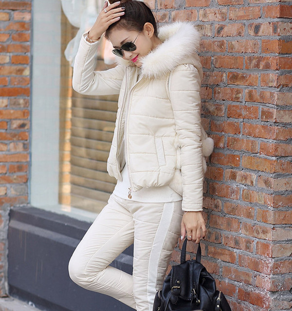 3 pcs / set shirt vest pant thick fur collar tracksuit for women sets winter 2 piece set women suit women down jacket spelt fur