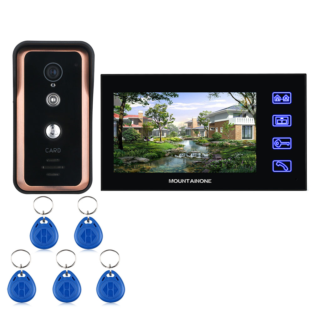 MOUNTAINONE  7 Inch Touch Button Color Video Intercom Door Phone System With  RFID Card Reader HD Doorbell 1000TVL IR-CUT Camera