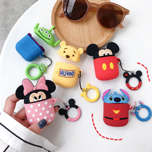 Bluetooth Earphone Case for Airpods Accessories Protective Cover Bag Anti-lost Ring Strap Cute Silicone 3D Design Cartoon Minnie