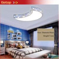 Для девочек Спальня Кристалл Светодиодная лампа потолка современный мультфильм Луна Акрил Дистанционное управление светильник Гостиная К