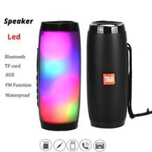 Alto falante sem fios com led, portátil, à prova d água, bluetooth, com rádio fm, para computador, pc