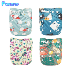 Pororo 2019 0-2 Years 3-15KG Children Reusable Pocket Baby Cloth Diaper Printed PUL Cover Wrap Suede Adjustable Washable