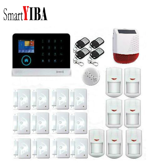 все цены на SmartYIBA Wireless Home Alarm System Kits 3G WIFI RFID APP Control Wireless Alarmes Smoke Motion Detector+Solar Siren онлайн