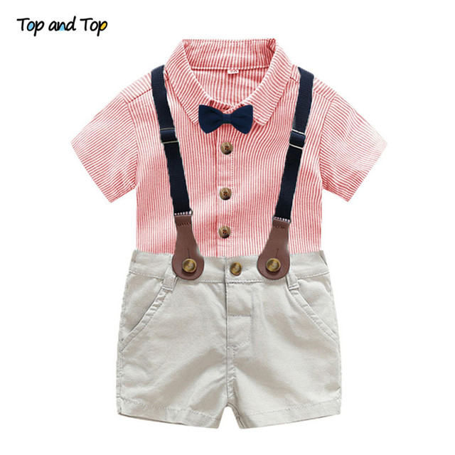 defef0526e25 Baby Boy Gentleman Clothes Set Toddler Wedding Party Summer Suit Bow Tie  Striped Shirt+Suspender Shorts Formal Outfit