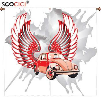 Window Curtains Treatments 2 Panels,Cars Decor Hippie Dated Beetle Car With Wings Once Sixties Freedom And Revolution Symbol