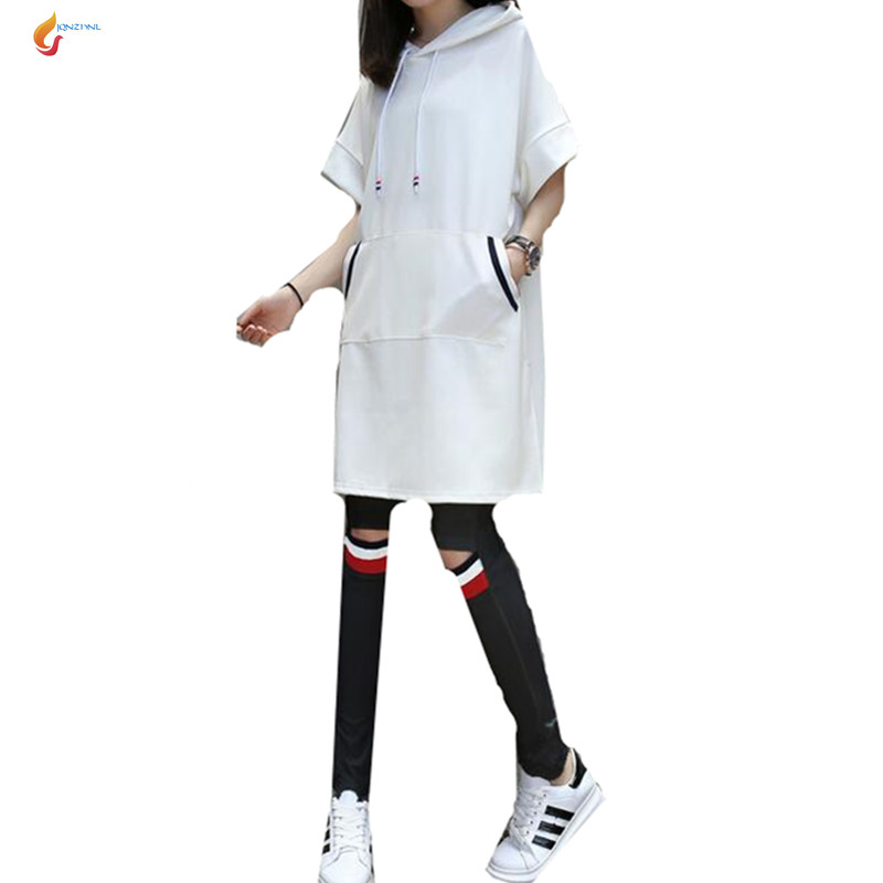 JQNZHNL Sportswear Suit 2017 Women spring summer Hooded Short-sleeved T-shirt Women Suit Set Casual Fashion 2pcs Suit Set G29