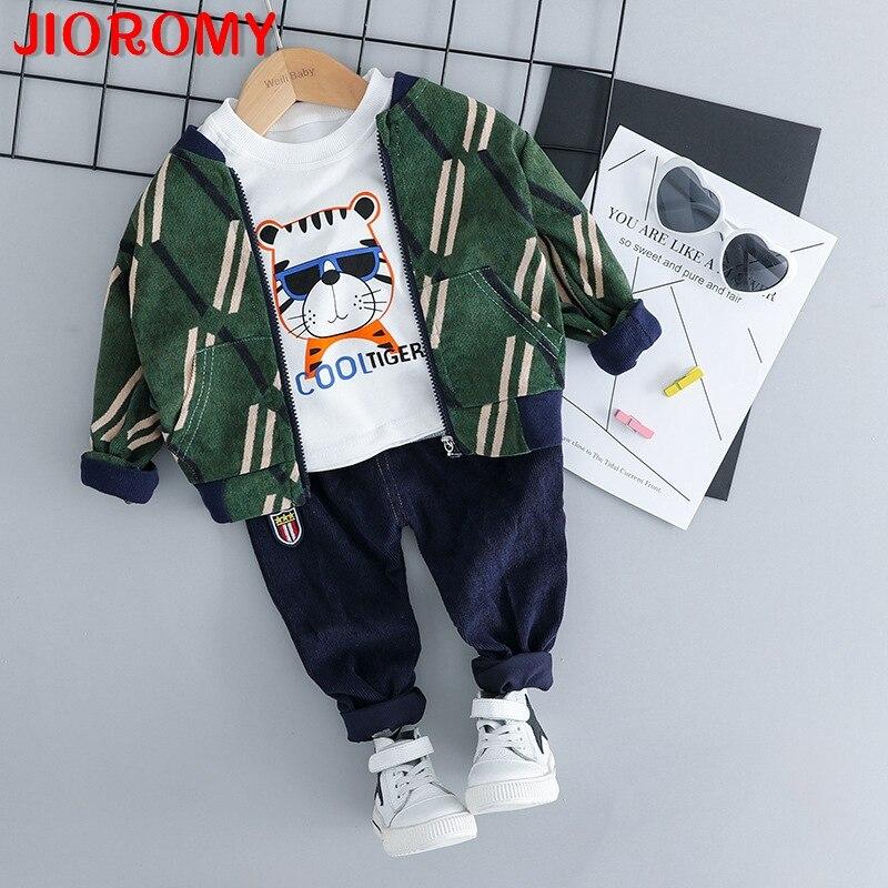 JIOROMY 2018 Enfants usure automne nouvelle garçon de bande dessinée de tigre de costume enfants en velours côtelé automne costume trois-pièce distribution 805 a1