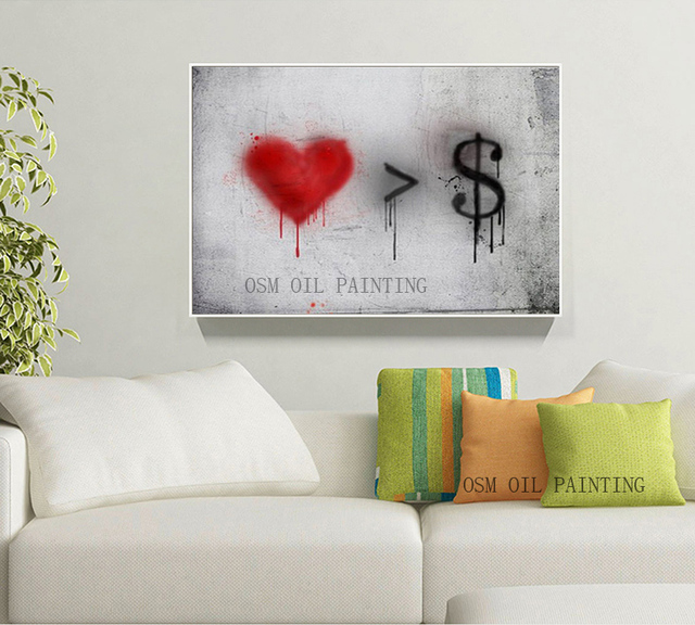 Moderne Peinture À L'Huile L'Amour Plus Que De L'Argent Décoration