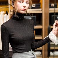 Moda Jihan Women T shirt Winter New Thick Tops Turtleneck Basic T Shirt Lady Lace Long Sleeve Silver Sprinkles Base TShirts