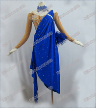 ROYALBULE SALSA TANGO,RUMBA,CHA-CHA DANCE DRESSES,COSTUMES,EXERCISE,LESSION.FEATHER,LATIN DANCE DRESS,DANCER COSTUMES, LD-0017