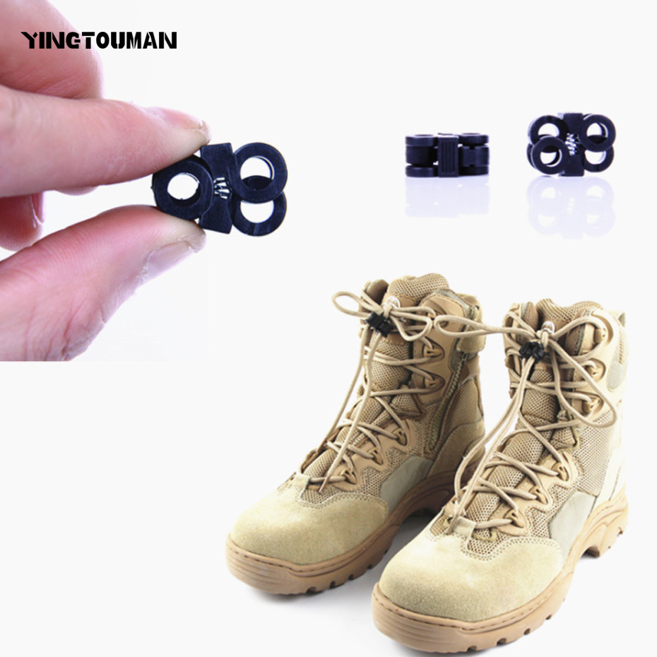 YINGTOUMAN 10pcs/lot Outdoor Pocket Multi Tools Shoes Lace Non-slip Buckle Mountaineering Shoes Rope Clamp EDC