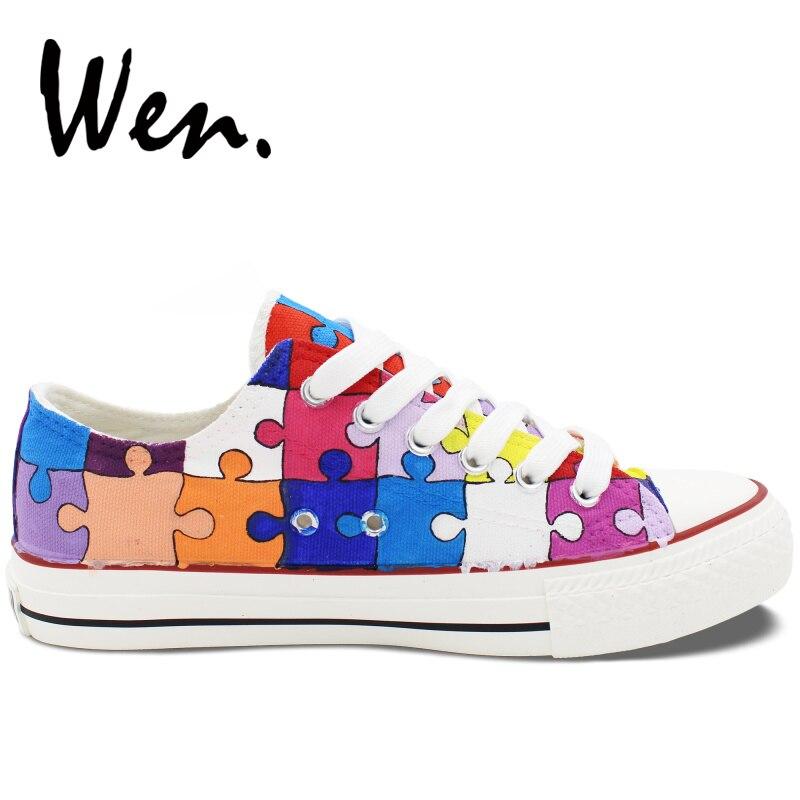 Вэнь ручная роспись повседневная обувь по индивидуальному дизайну красочные головоломки низкий верх парусиновая обувь мужские кроссовки на шнуровке женские платформы плимсоллы - 4