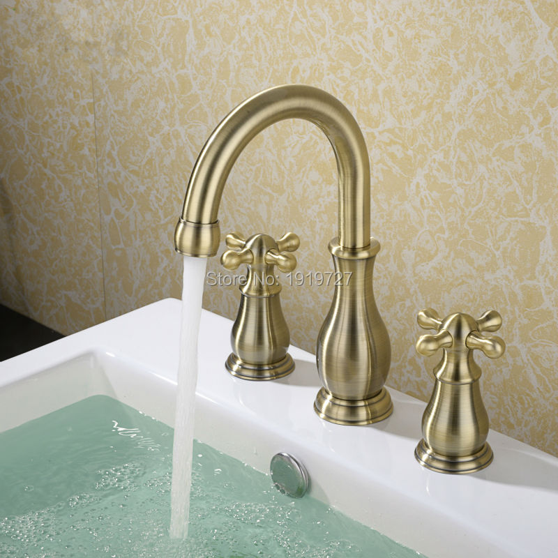 high quality 100 solid brass 2 cross handle widespread three holes 3 piece bathroom sink faucet. Black Bedroom Furniture Sets. Home Design Ideas