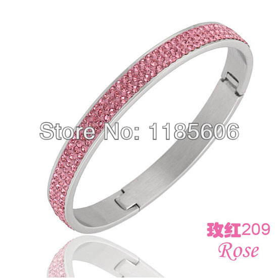 3 row pink crystal Stainless steel bangles & bracelets fow women fashion jewelry Made CZ Crystals - CRYSTAL BEADS store
