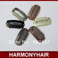 (100pcs/bag) HARMONY 2.8cm 6 teeth hair extension snap clips with stainless steel and silicone- 7 different colors in stock