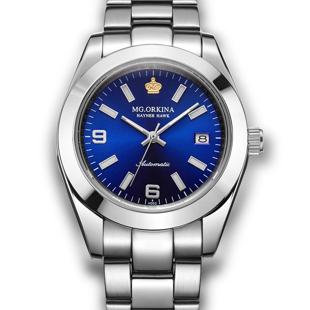 ORKINA Homme Horloge En Acier Inoxydable Automatique Montre-Bracelet Reloj Hombre Auto Date Mâle Hommes Mécanique de Montre avec Lumière de Nuit