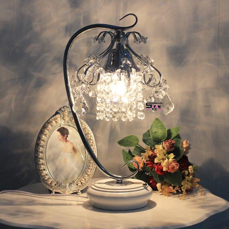 Аутентичные Корейский кристалл лампа спальня ночники затемнения лампы Современный Свадебный Стол