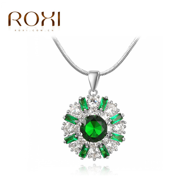 ROXI Joyería de Cristal Verde Colgante Como Una Flor de Oro Blanco Plateado CZ Hecho A Mano Collar de Las Mujeres A Estrenar