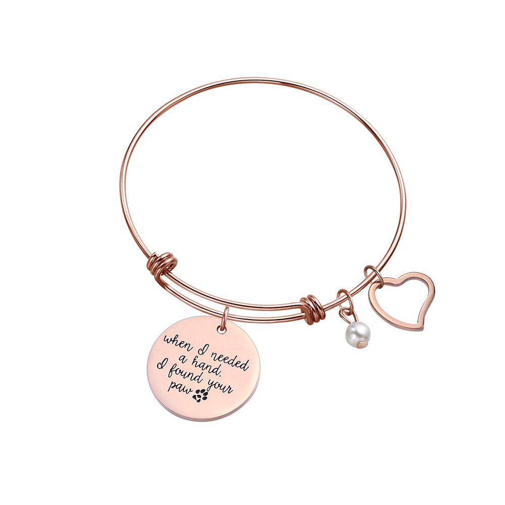 Gift for <font><b>Dog</b></font>/Cat/Pet Lovers Heart Charm <font><b>Bracelet</b></font> Bangle Engraved When i needed a hand i pound you <font><b>paw</b></font> Love Jewelry image