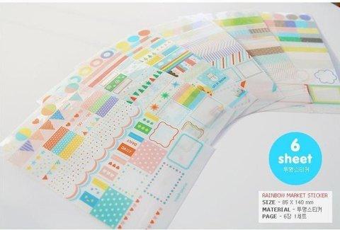 10 pacotes lote arco iris diario adesivos multifunction