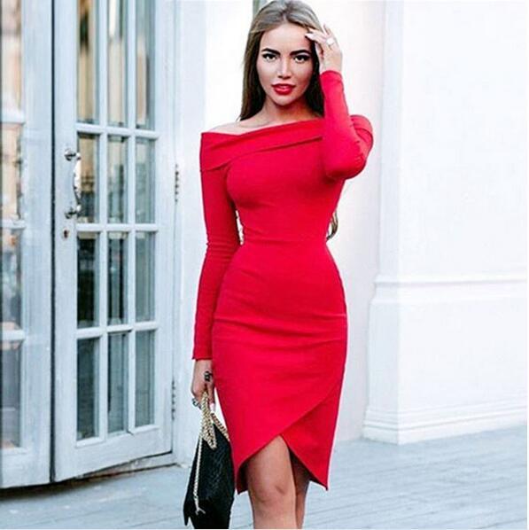 ac7fb0312590 sexy red long sleeve 2017 elegant women dress slash neck vestidos vintage  cocktail party dresses elegant