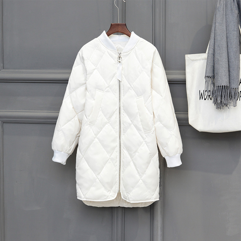 1fb74dcc9 US $39.98 49% OFF|2018 New Women White Duck Down Jacket Parka Autumn Winter  Thin Ultra Light Down Coat Ladies Warm Midi Long Coats Outerwear A1104-in  ...
