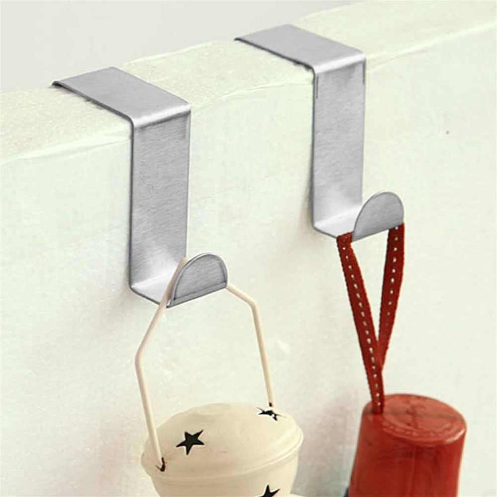 2 szt. Haczyki na drzwi ze stali nierdzewnej wiszące szafki kuchenne wieszak na ubrania na drzwiach typ pleców mocne praktyczne akcesoria domowe