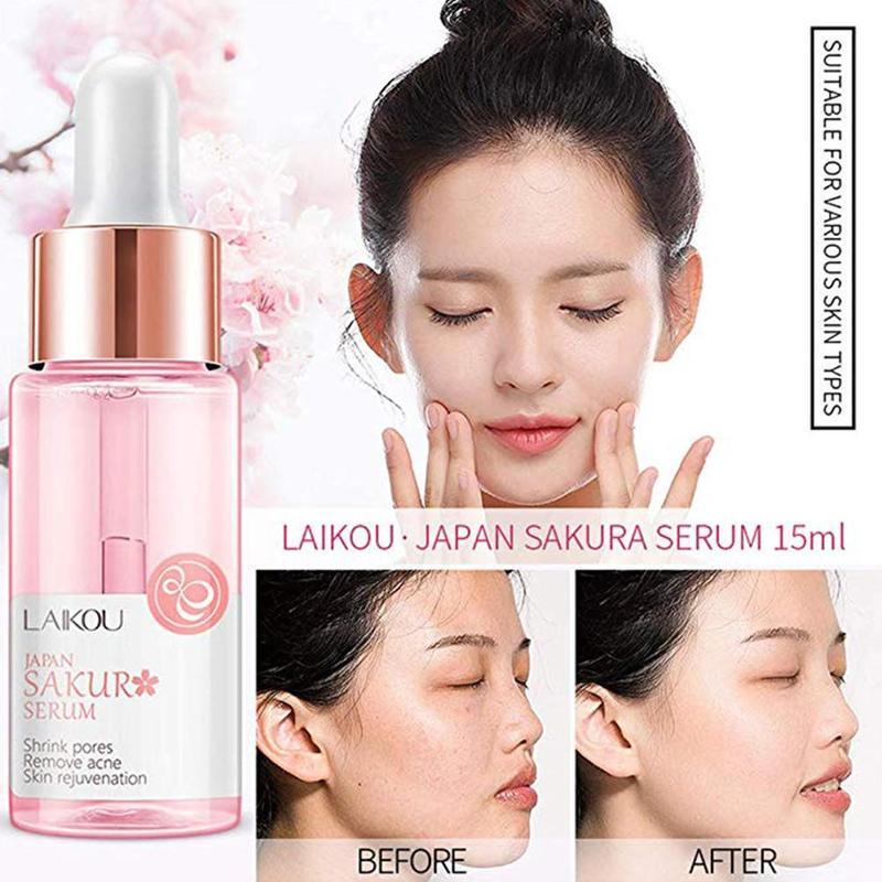 15ml Sakura Face Serum Shrink Pores Remove Acne Liquid Moisturizing Face Brighten Skin Serum Japanese Sakura Skin Care