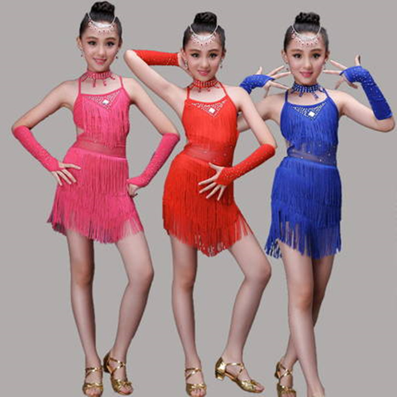 New Arrival Girls latin dance dress Sequin Fringe Tassel Skirt Ladies Sexy Unequal Latin Tango Ballroom