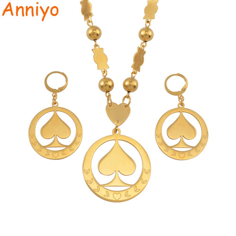 все цены на Anniyo Marshall Pendant Beads Necklaces Earrings Jewelry sets for Woman Gold Color Ball Chains Micronesia Jewellery Gift #050821