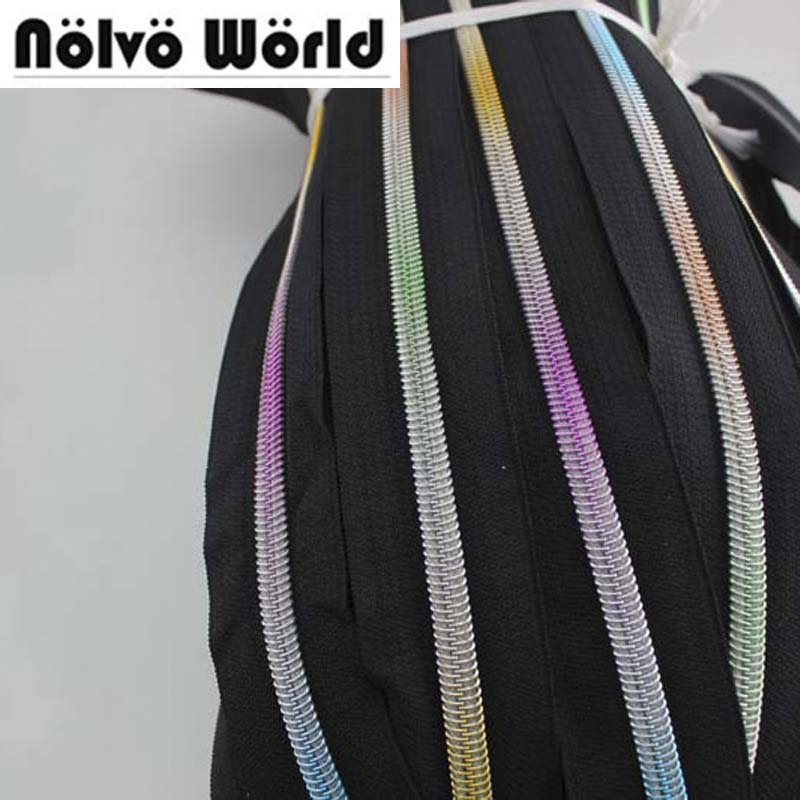 30Yards 5# Rainbow Nylon Teeth Zipper,7 Kinds Colorful No5 Plastic Zippers For DIY Leather Bags,clothing Pants Making