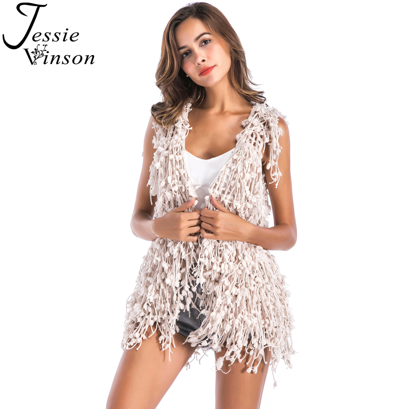 Jessie Vinson Fashion Sleeveless Tassel Pom poms Crochet Women Vest Cardigan Autumn Winter Hand Made Waistcoat Christmas Coat