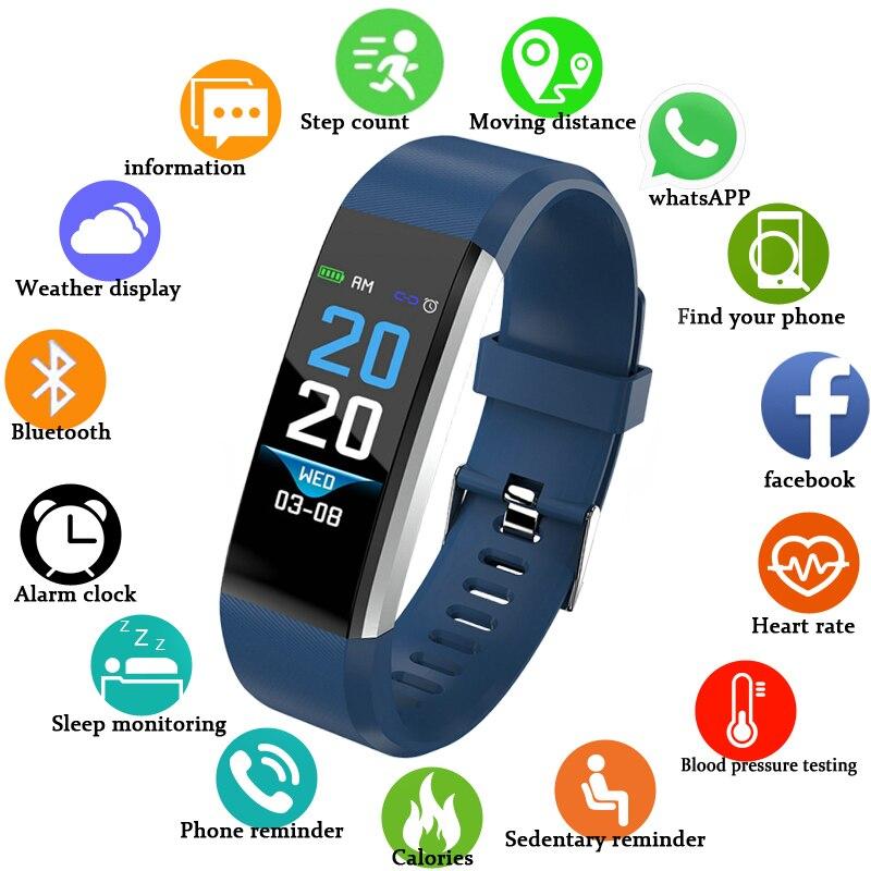 BANGWEI Smart Bracelet Fitness Tracker Step Counter Activité Bande De Moniteur D'alarme Horloge Vibrations pour IOS Android Hommes Femmes Montre