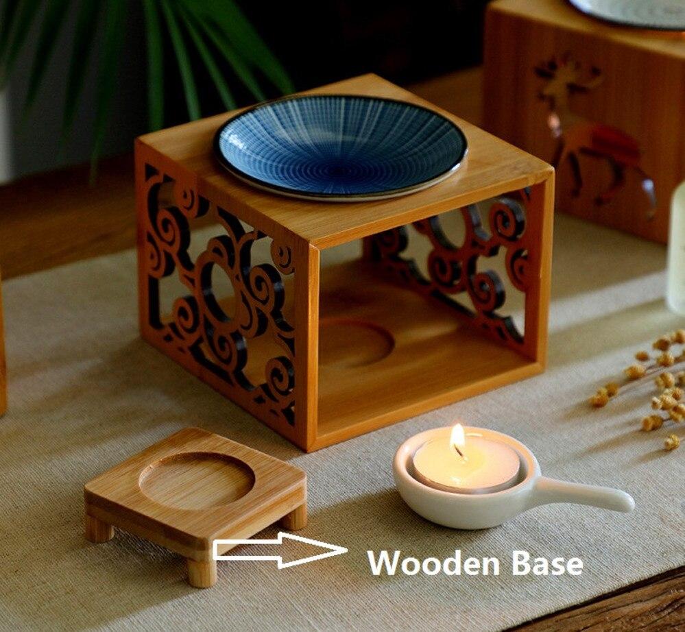 Image 4 - Bamboo Wood Hollow Fragrance Lamp Oil Furnace Aroma Burner Candle Holder Candlestick Vase Romantic Crafts Gifts Home DecorationIncense & Incense Burners   -