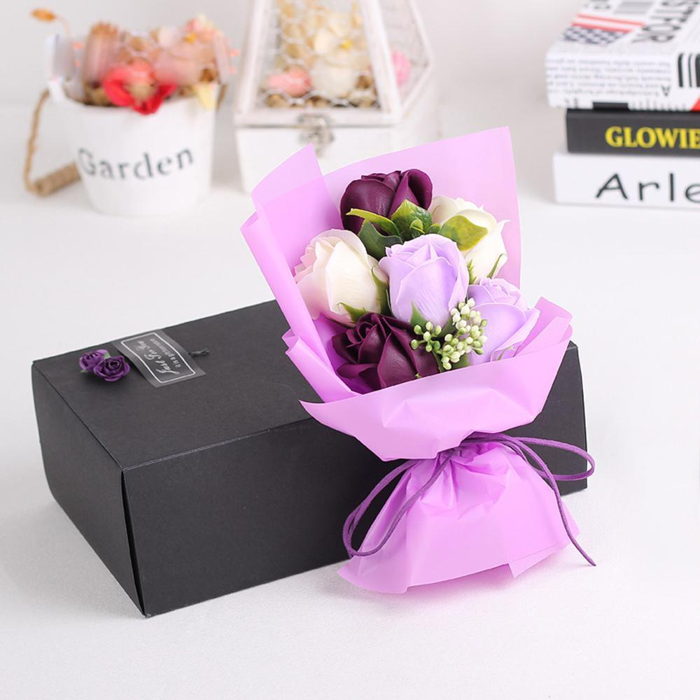 2017 Valentine's Day Artificial Rose Flower Bouquet Soap Rose Bear Doll Toys Festivals Gift For Birthday Wedding Luxury Gift Box thumbnail
