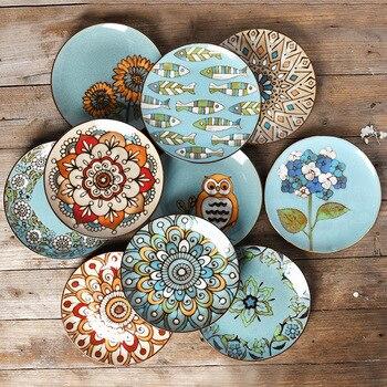 Креативная керамическая настенная тарелка, окрашенная вручную диск, домашнее украшение блюда, подвесная тарелка, тарелка для стейка, керам...