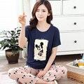 Mickey Pijamas Pijamas Mulheres Modal Pijama Polar Mujer Mulheres Conjunto de Pijama de Verão de Manga Curta Sleepwear