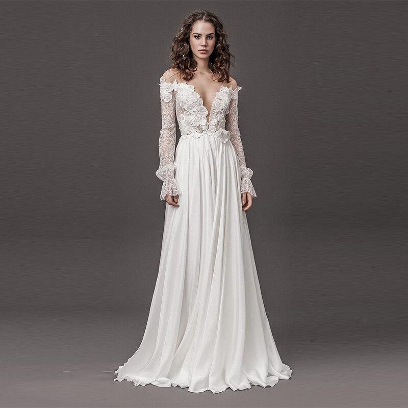 Verngo A-line Wedding Dress Appliques Lace Wedding Gowns Elegant V-back Bride Dress V-neckline Boho Wedding Dress Beach Wedding