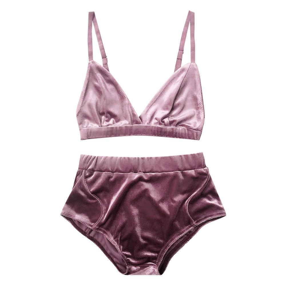 312547394c14 Wipalo Fashion Women Velvet Pajama Sets Bra Underwear Straps Bralette  Panties Soft Trim Bra Sets High