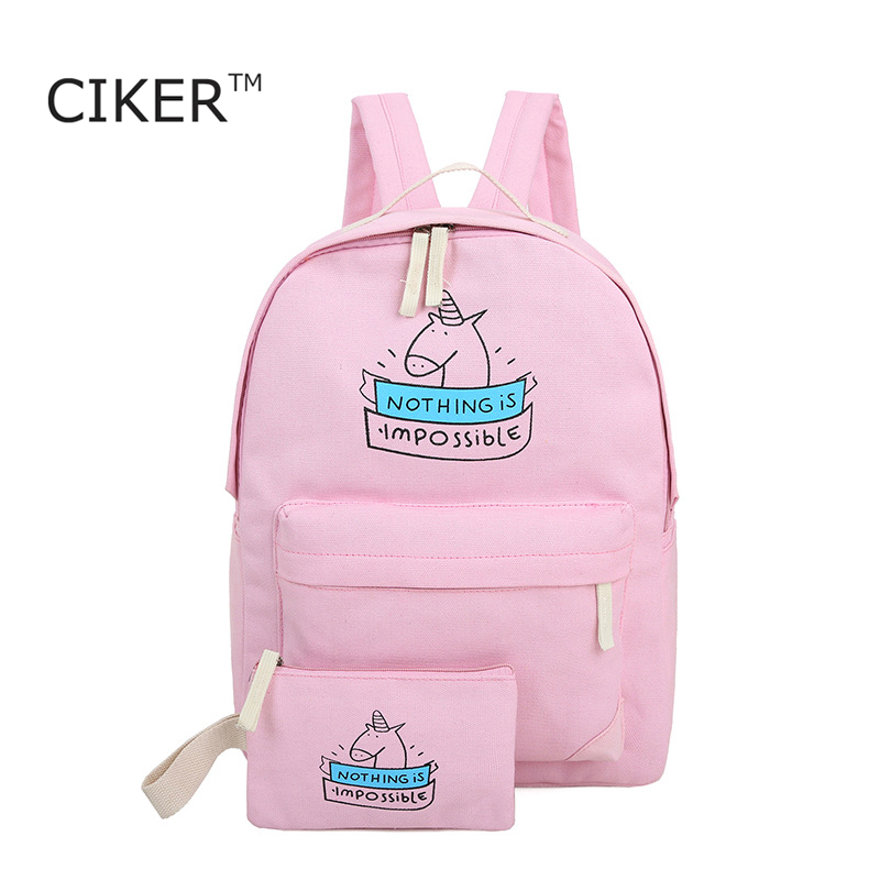 CIKER women canvas backpack fashion cute travel bags unicorn printing backpack 2pcs set new laptop backpacks