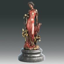 ATLIE BRONZES Beautiful flora goddess statue Girl Figurine Bronze Sculpture  Holiday Gifts  Europe person sculpture