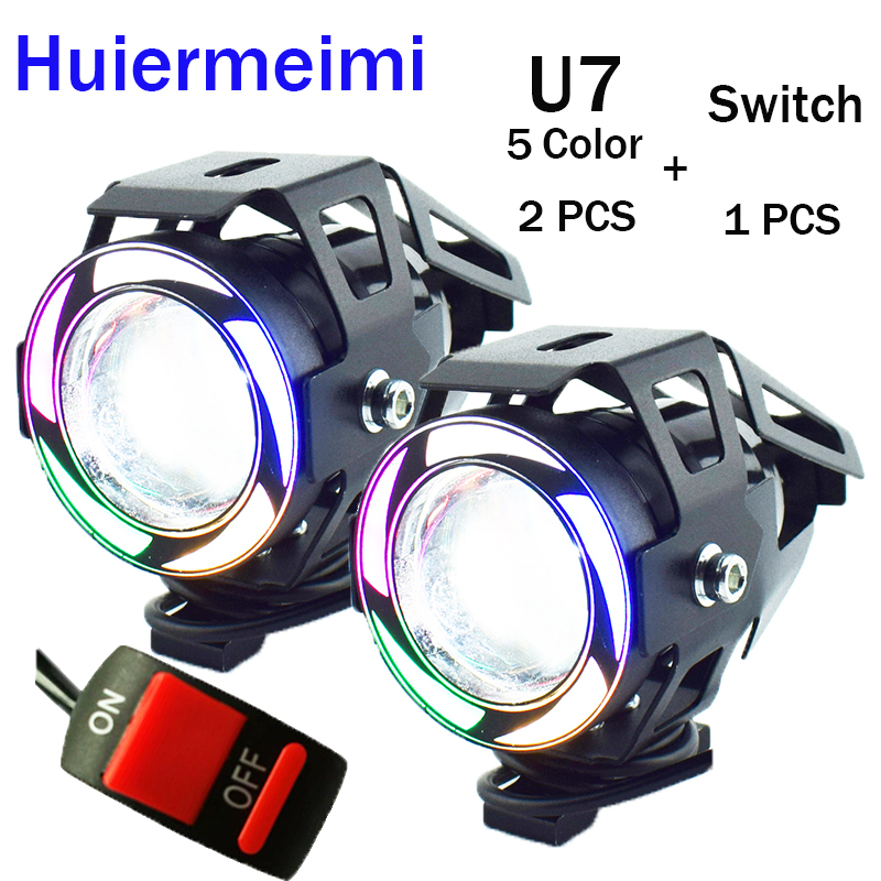 Huiermeimi Motorcycle Headlights 12V 125W 3000LM LED U7 5 Color Motorbike Headlamp Moto Driving Spot Head