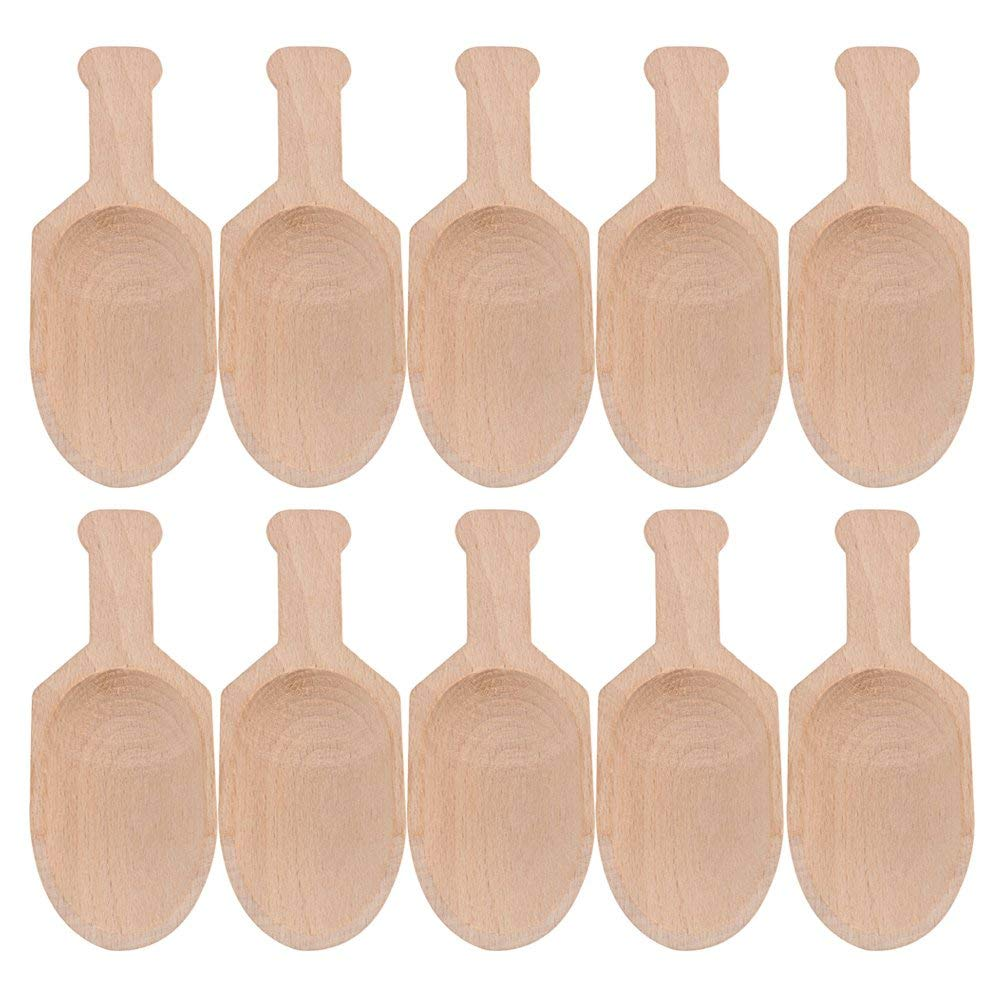 10Pcs 3 Inch Mini Beech Wooden Scoops Spoon For Candy Spices Parties Home Kitchen Tool
