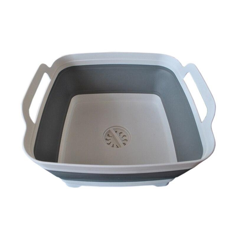 Folding Square Fruit Vegetable Washing Washbasin Storage Basket Kitchen Outdoor Travel Supply RT99