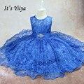 It's YiiYa Sleeveless 3 Colors O-Neck Lace Bow Crystal <font><b>Flower</b></font> Pattern Kids Princess <font><b>Flower</b></font> <font><b>Girls</b></font> <font><b>Dress</b></font> Children Ball Gown TS006